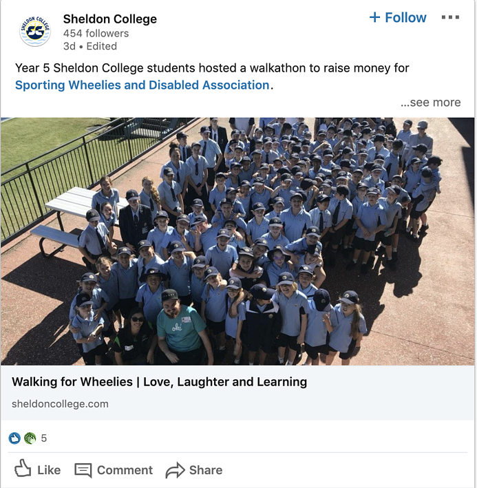 Sheldon College Linkedin Post